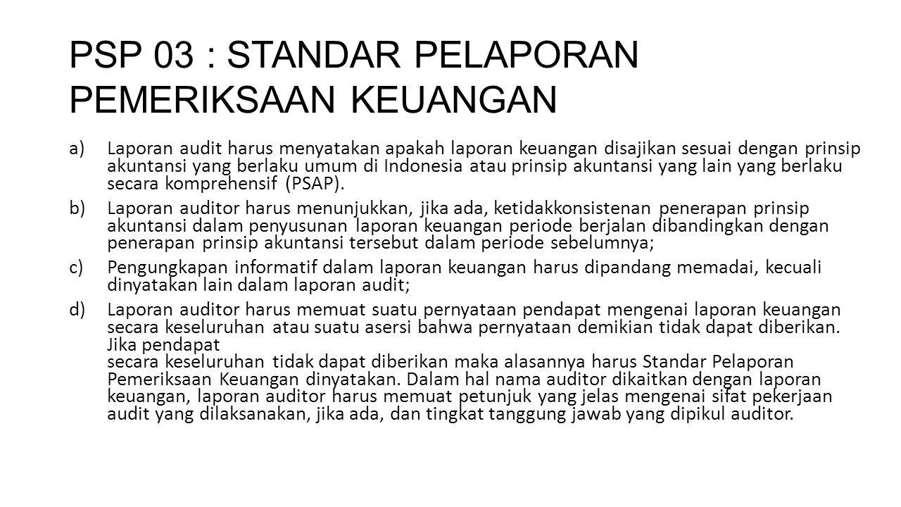 PSP 03 : STANDAR PELAPORAN PEMERIKSAAN KEUANGAN