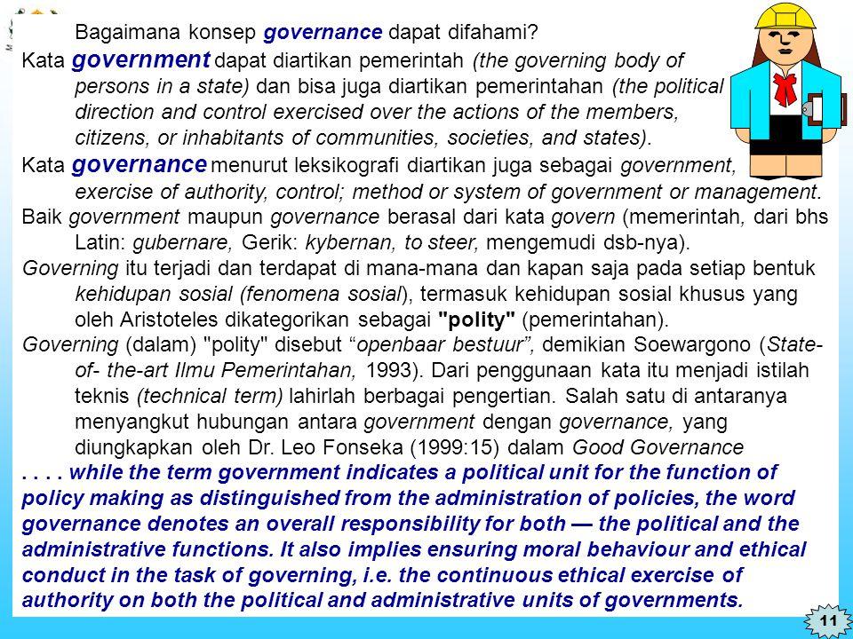 Bagaimana konsep governance dapat difahami