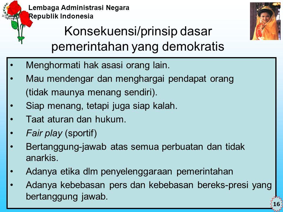 Konsekuensi/prinsip dasar pemerintahan yang demokratis
