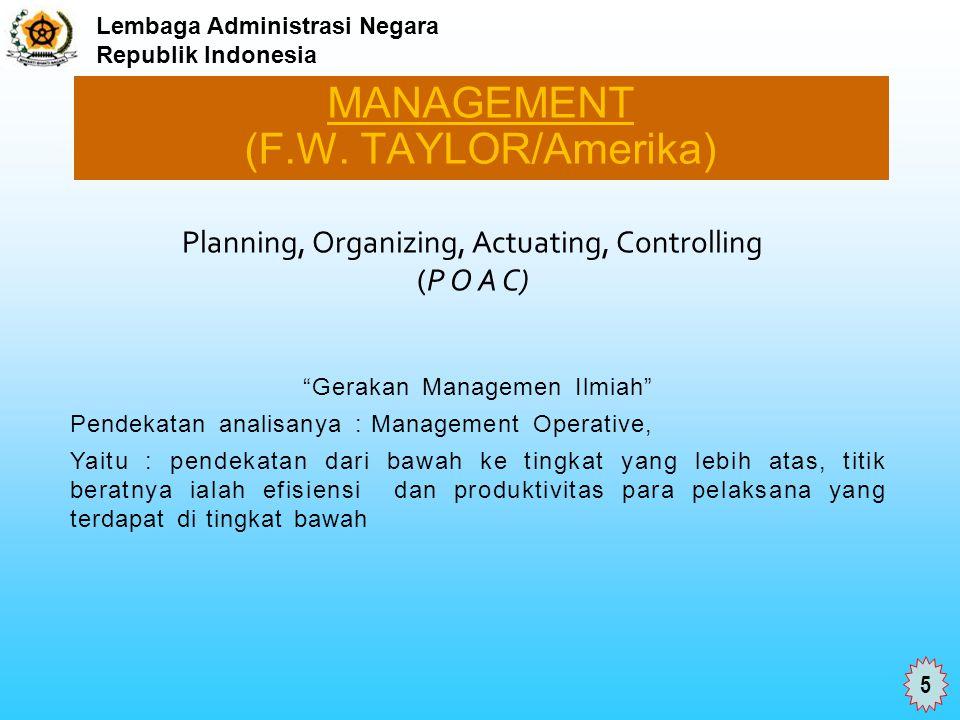 MANAGEMENT (F.W. TAYLOR/Amerika)