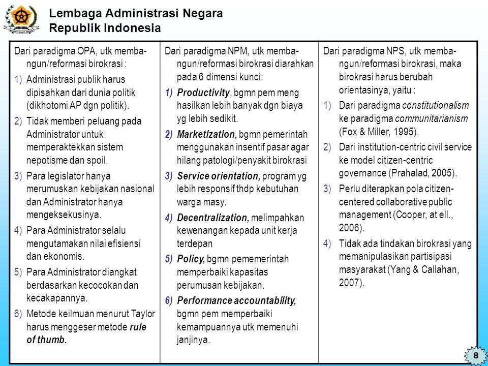 Dari paradigma OPA, utk memba-ngun/reformasi birokrasi :