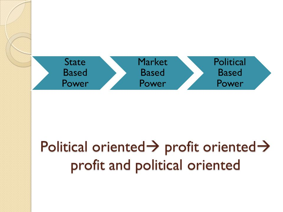 Political oriented profit oriented profit and political oriented