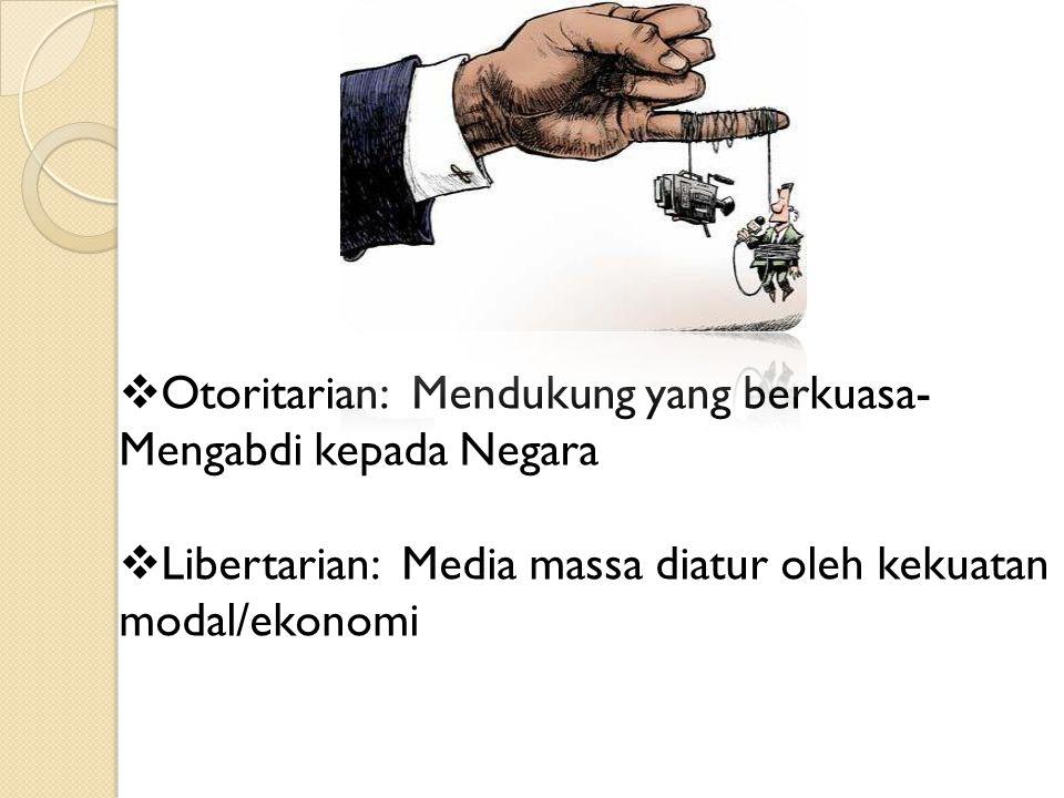 Otoritarian: Mendukung yang berkuasa-Mengabdi kepada Negara