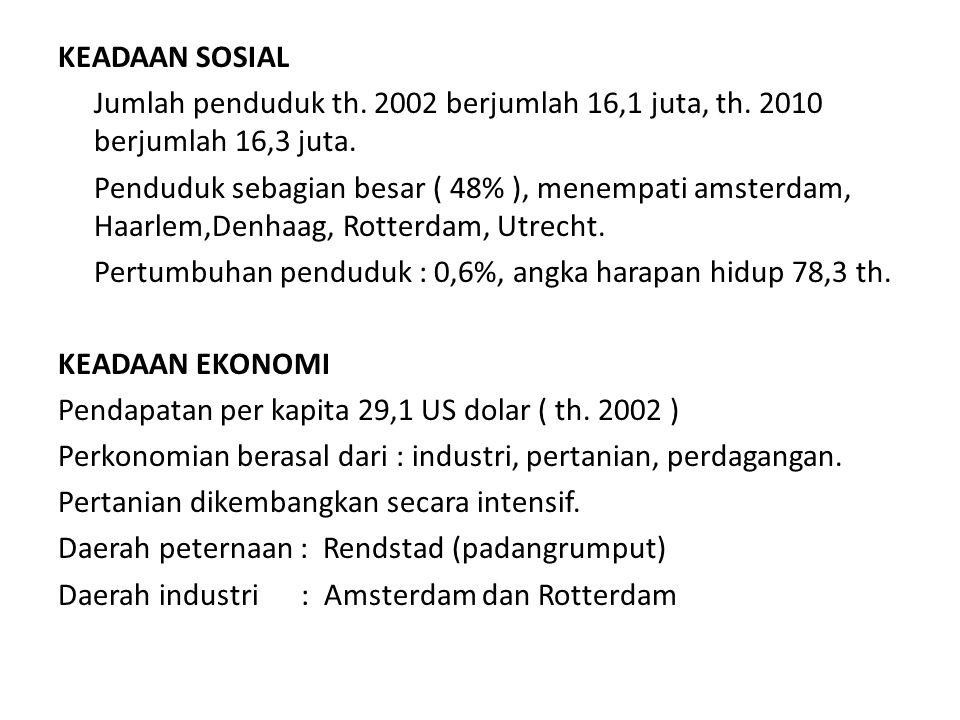 KEADAAN SOSIAL Jumlah penduduk th. 2002 berjumlah 16,1 juta, th
