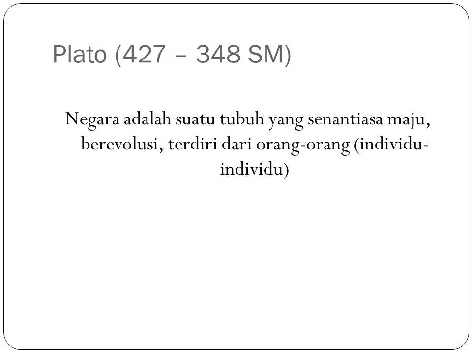 Plato (427 – 348 SM) Negara adalah suatu tubuh yang senantiasa maju, berevolusi, terdiri dari orang-orang (individu- individu)
