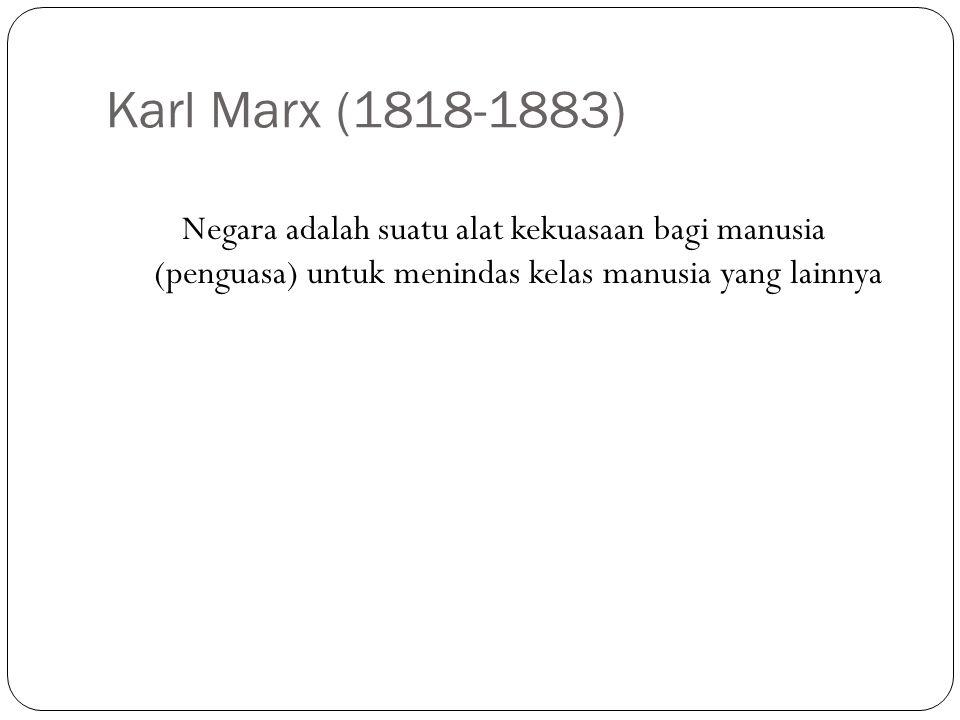 Karl Marx (1818-1883) Negara adalah suatu alat kekuasaan bagi manusia (penguasa) untuk menindas kelas manusia yang lainnya.