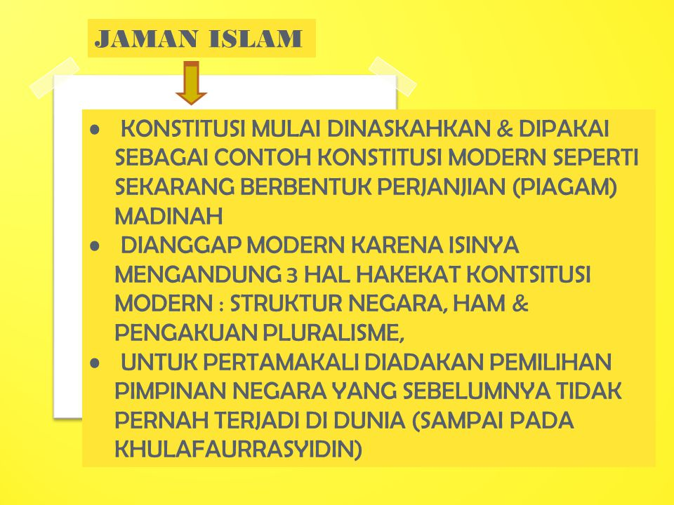 JAMAN ISLAM KONSTITUSI MULAI DINASKAHKAN & DIPAKAI SEBAGAI CONTOH KONSTITUSI MODERN SEPERTI SEKARANG BERBENTUK PERJANJIAN (PIAGAM) MADINAH.