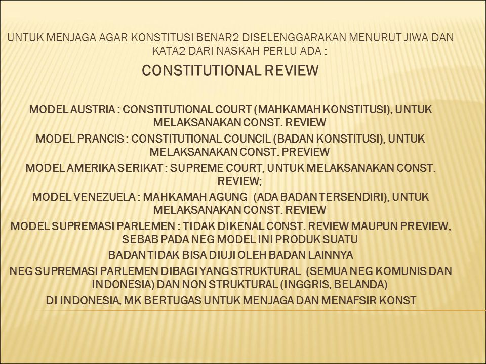 CONSTITUTIONAL REVIEW