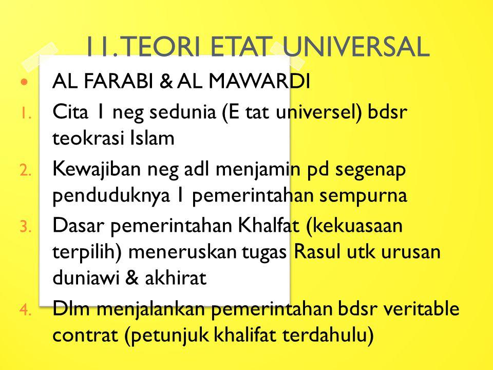 11. TEORI ETAT UNIVERSAL AL FARABI & AL MAWARDI