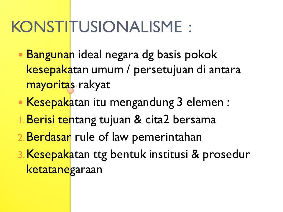 KONSTITUSIONALISME : Bangunan ideal negara dg basis pokok kesepakatan umum / persetujuan di antara mayoritas rakyat.