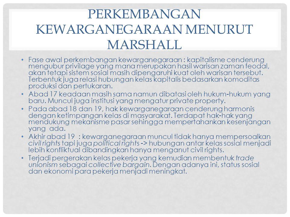 Perkembangan kewarganegaraan menurut Marshall
