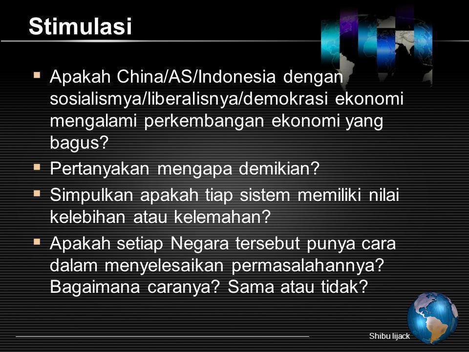 Stimulasi Apakah China/AS/Indonesia dengan sosialismya/liberalisnya/demokrasi ekonomi mengalami perkembangan ekonomi yang bagus