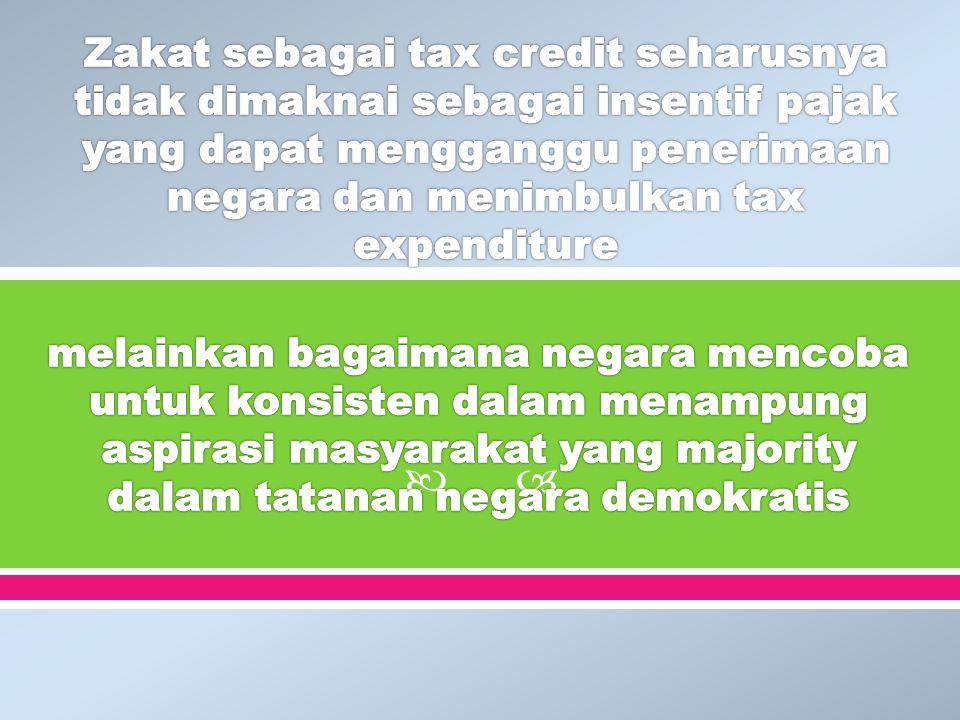 Zakat sebagai tax credit seharusnya tidak dimaknai sebagai insentif pajak yang dapat mengganggu penerimaan negara dan menimbulkan tax expenditure