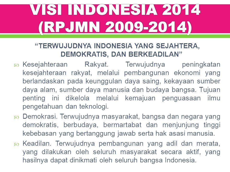 VISI INDONESIA 2014 (RPJMN 2009-2014)