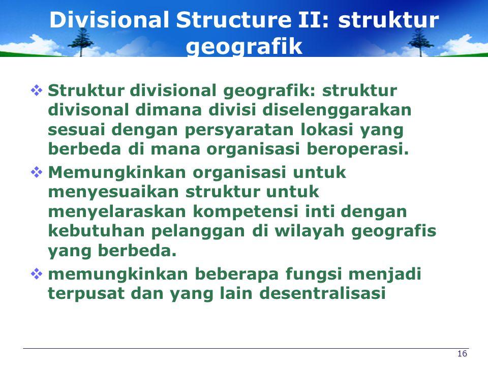 Divisional Structure II: struktur geografik