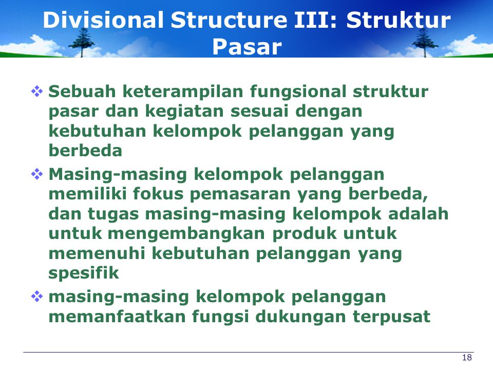 Divisional Structure III: Struktur Pasar