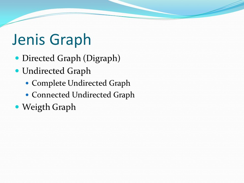 Jenis Graph Directed Graph (Digraph) Undirected Graph Weigth Graph
