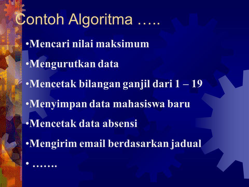 Contoh Algoritma ….. Mencari nilai maksimum Mengurutkan data