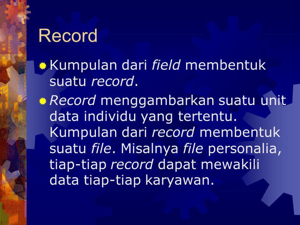 Record Kumpulan dari field membentuk suatu record.