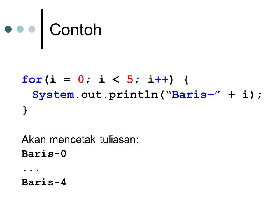 Contoh for(i = 0; i < 5; i++) { System.out.println( Baris– + i); }