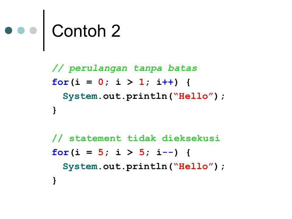 Contoh 2 // perulangan tanpa batas for(i = 0; i > 1; i++) {