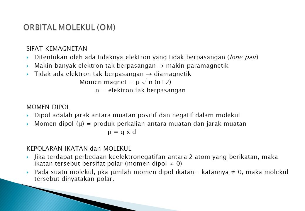 ORBITAL MOLEKUL (OM) SIFAT KEMAGNETAN