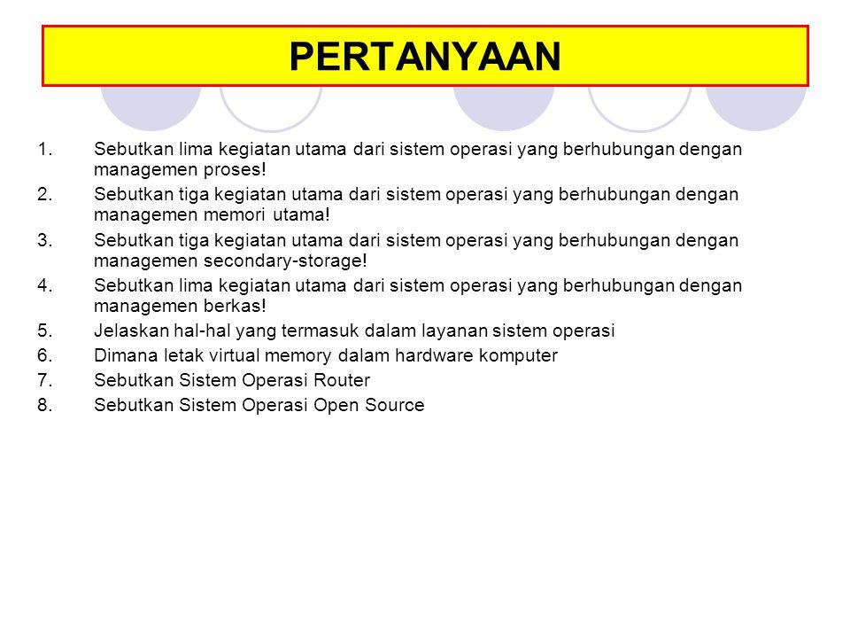 PERTANYAAN Sebutkan lima kegiatan utama dari sistem operasi yang berhubungan dengan managemen proses!