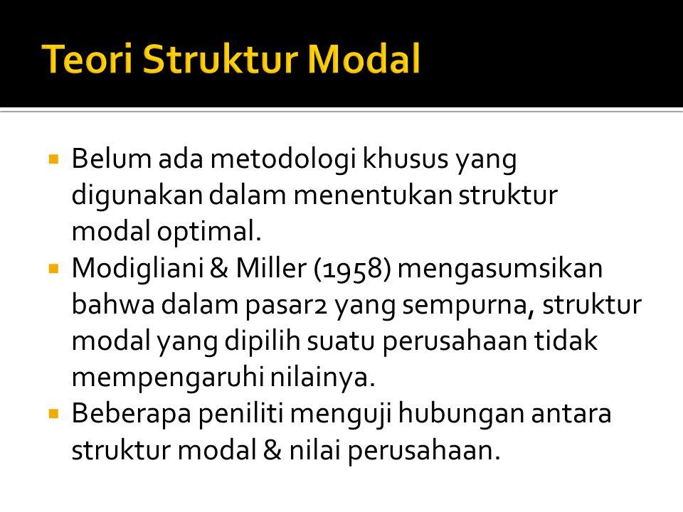Teori Struktur Modal Belum ada metodologi khusus yang digunakan dalam menentukan struktur modal optimal.