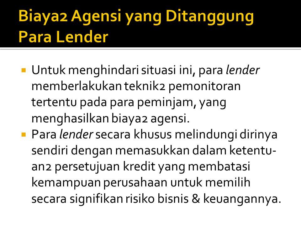 Biaya2 Agensi yang Ditanggung Para Lender
