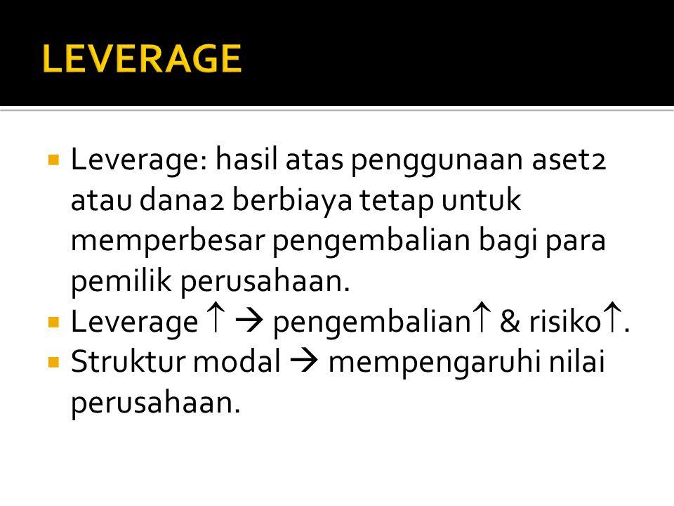 LEVERAGE Leverage: hasil atas penggunaan aset2 atau dana2 berbiaya tetap untuk memperbesar pengembalian bagi para pemilik perusahaan.