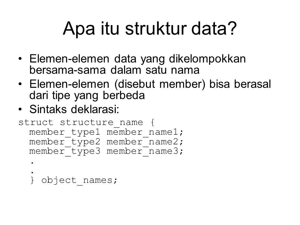 Apa itu struktur data Elemen-elemen data yang dikelompokkan bersama-sama dalam satu nama.