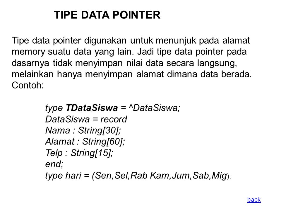 TIPE DATA POINTER