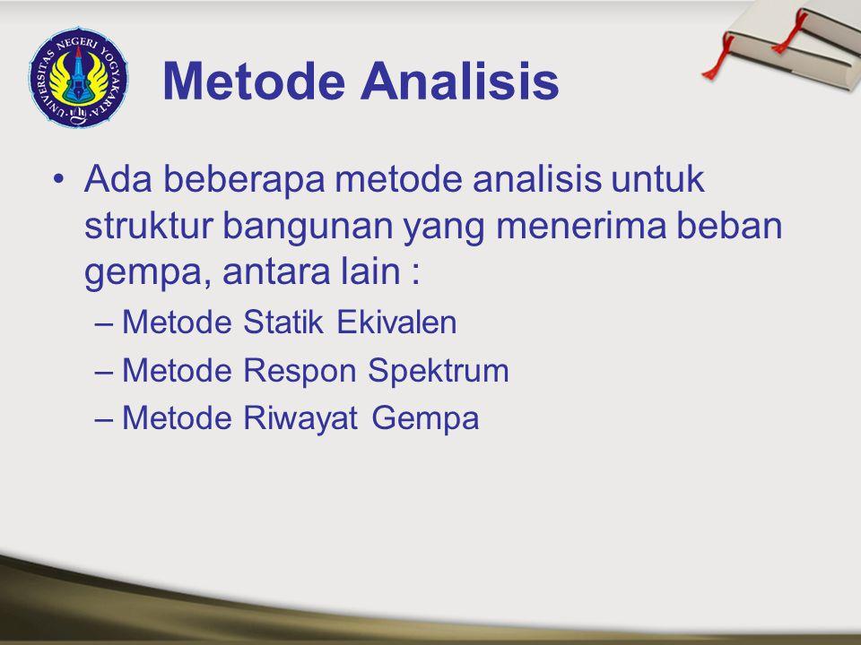 Metode Analisis Ada beberapa metode analisis untuk struktur bangunan yang menerima beban gempa, antara lain :