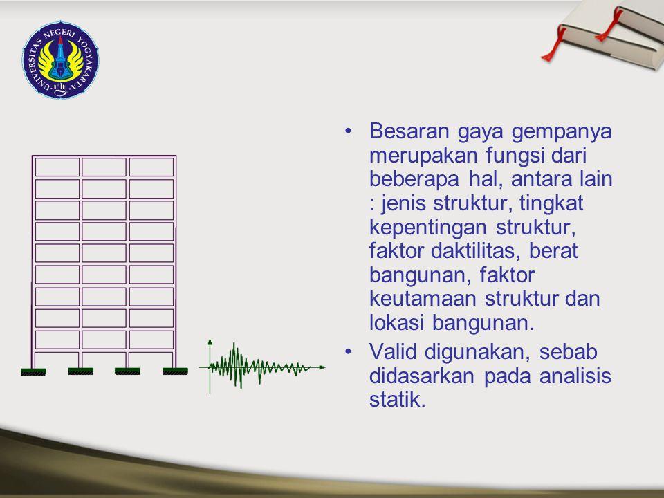 Besaran gaya gempanya merupakan fungsi dari beberapa hal, antara lain : jenis struktur, tingkat kepentingan struktur, faktor daktilitas, berat bangunan, faktor keutamaan struktur dan lokasi bangunan.