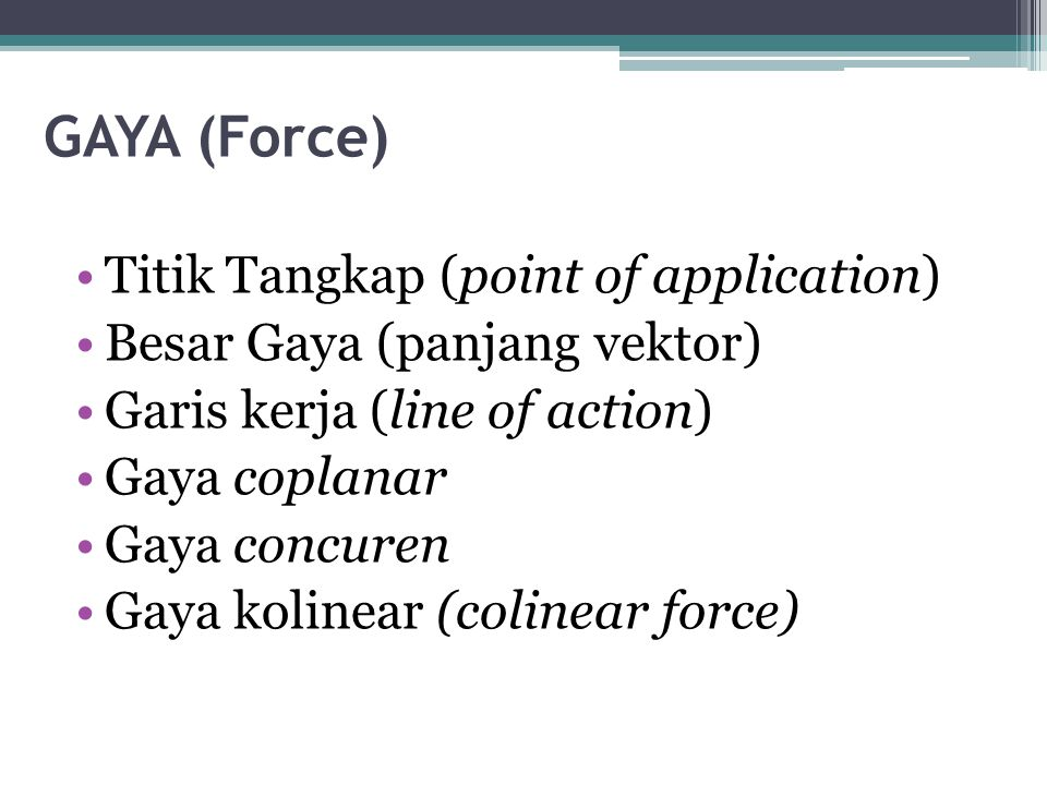 GAYA (Force) Titik Tangkap (point of application)