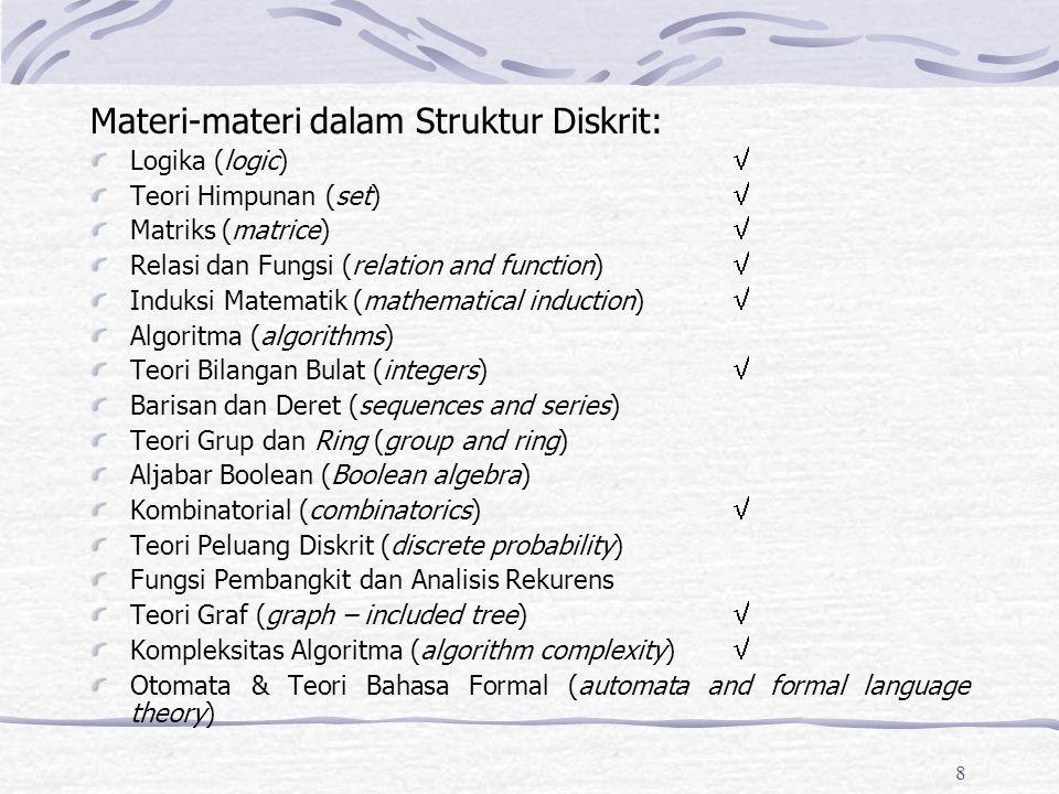 Materi-materi dalam Struktur Diskrit: