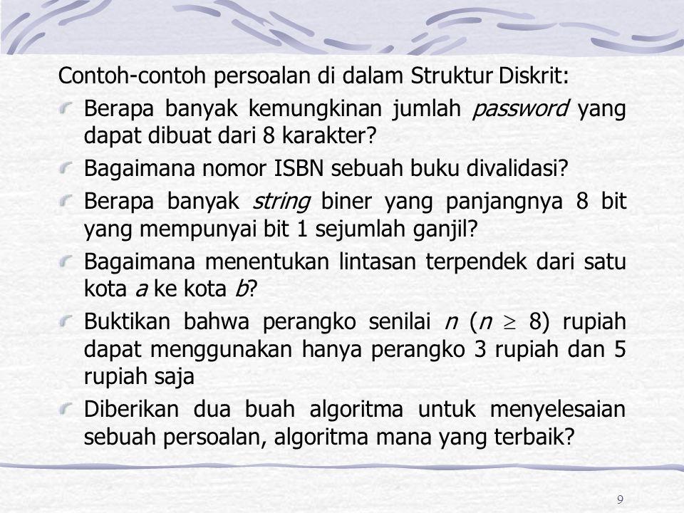 Contoh-contoh persoalan di dalam Struktur Diskrit: