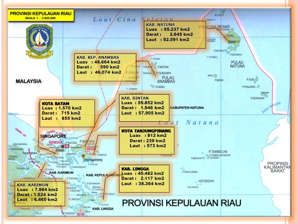 3 KAB. NATUNA Luas : 95.237 km2 Darat : 2.645 km2 Laut : 92.591 km2