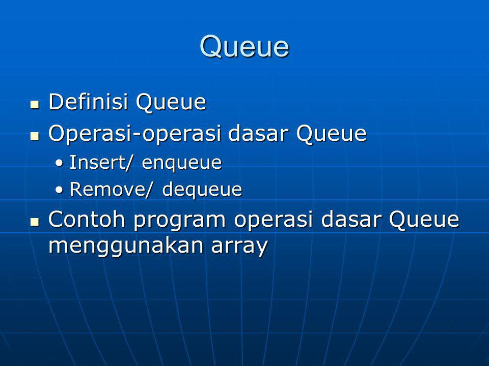 Queue Definisi Queue Operasi-operasi dasar Queue