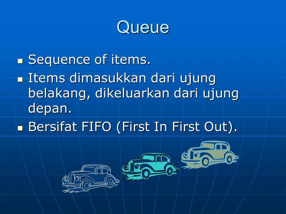 Queue Sequence of items.