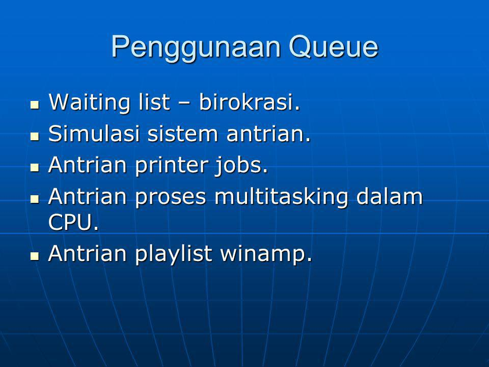 Penggunaan Queue Waiting list – birokrasi. Simulasi sistem antrian.