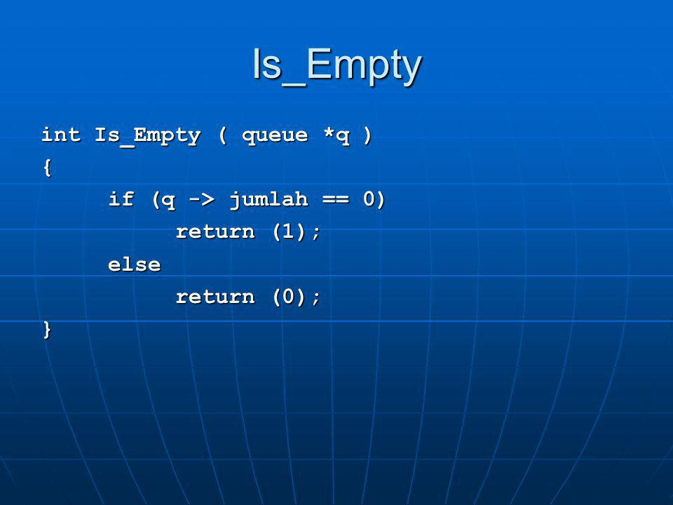 Is_Empty int Is_Empty ( queue *q ) { if (q -> jumlah == 0)