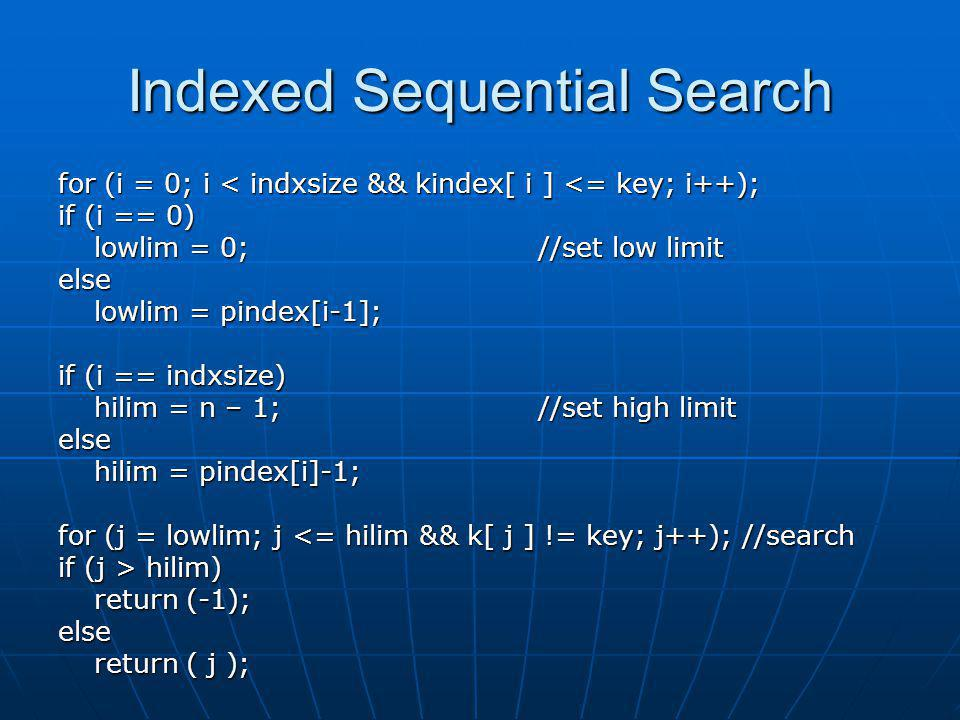 Indexed Sequential Search
