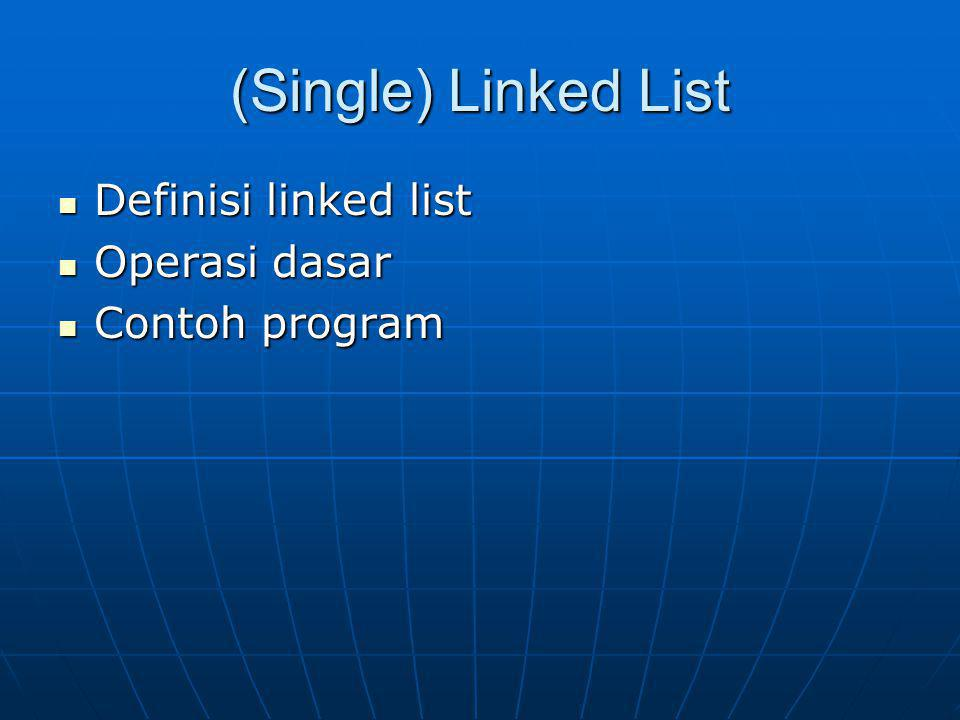 (Single) Linked List Definisi linked list Operasi dasar Contoh program