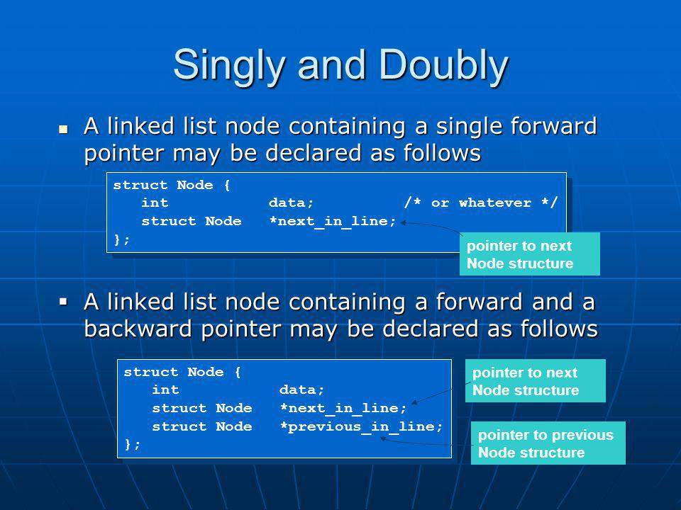 Singly and Doubly A linked list node containing a single forward pointer may be declared as follows.