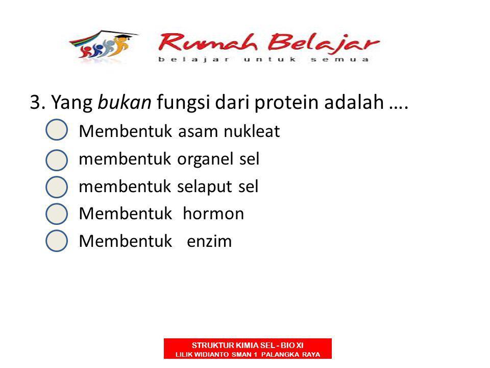 3. Yang bukan fungsi dari protein adalah ….