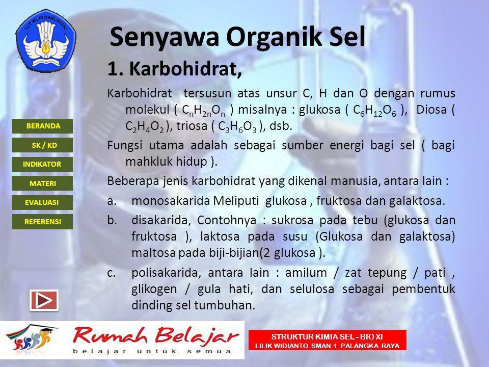 Senyawa Organik Sel 1. Karbohidrat,