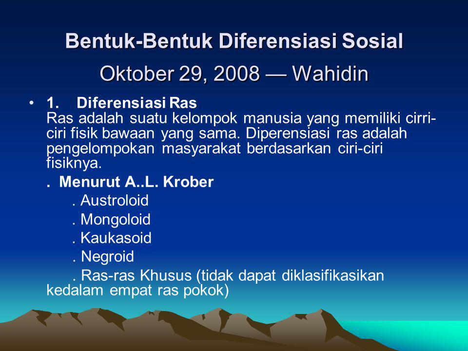 Bentuk-Bentuk Diferensiasi Sosial Oktober 29, 2008 — Wahidin