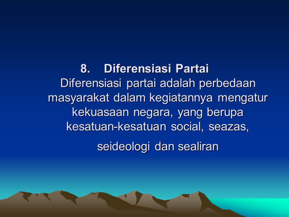 8. Diferensiasi Partai Diferensiasi partai adalah perbedaan masyarakat dalam kegiatannya mengatur kekuasaan negara, yang berupa kesatuan-kesatuan social, seazas, seideologi dan sealiran