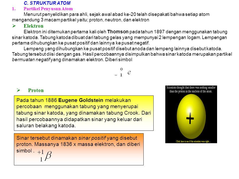 C. STRUKTUR ATOM Partikel Penyusun Atom.